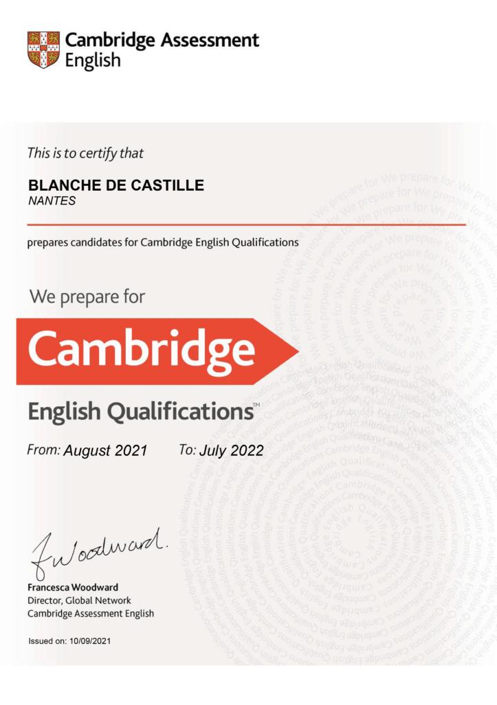 Cambridge Assessment Blanche de Castille Nantes